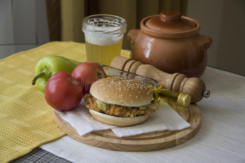 American dinner. Traditional american hamburger on plate. Kitchen photo royalty free stock photography
