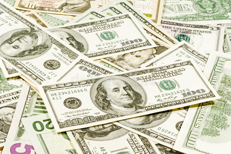 American Dollar Bills Scattered In A Chaotic Royalty Free Stock Images