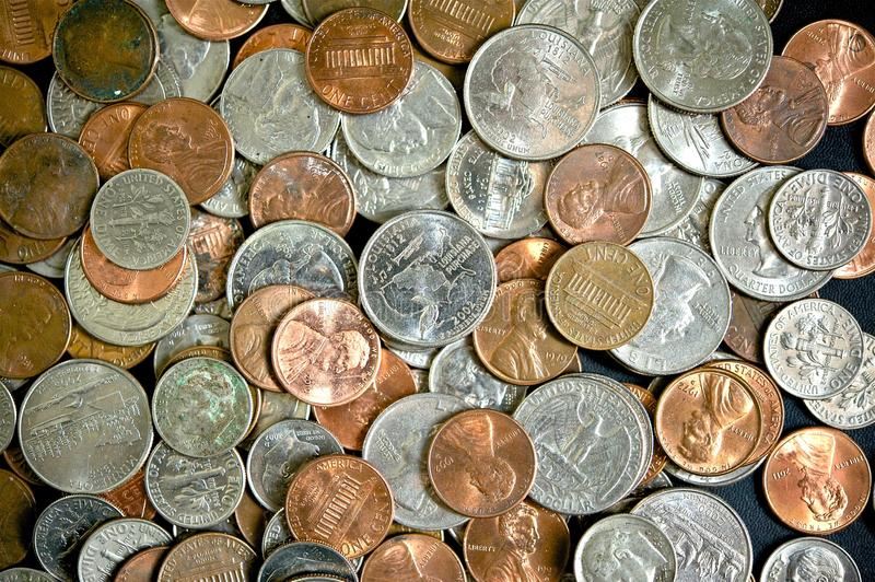American Dollar Coins. Top View Photo. Dollar Coins Background stock image