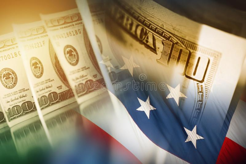 American Dollar and the Flag stock image