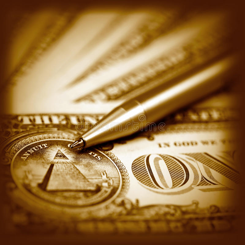 American dollar and pen royalty free stock photography