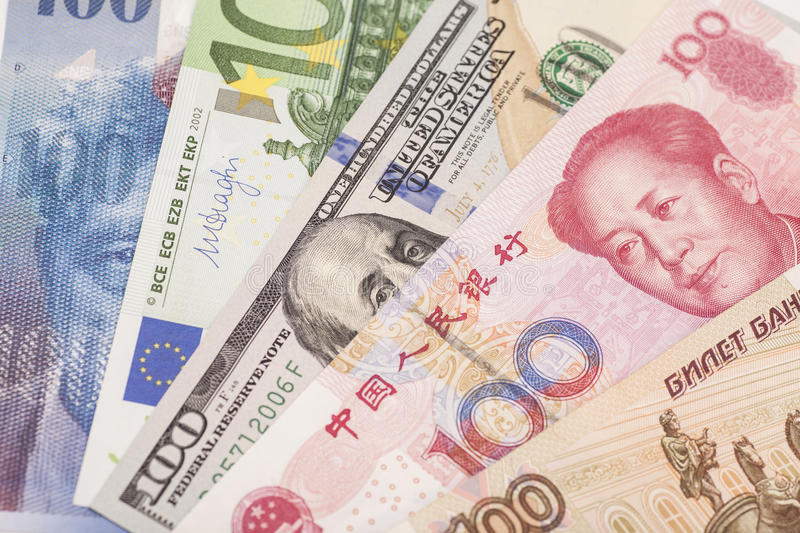 American dollars, European euro,Swiss franc,Chinese yuan and Russian Ruble bills stock images