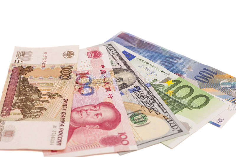 American dollars, European euro,Swiss franc,Chinese yuan and Russian Ruble bills royalty free stock photo