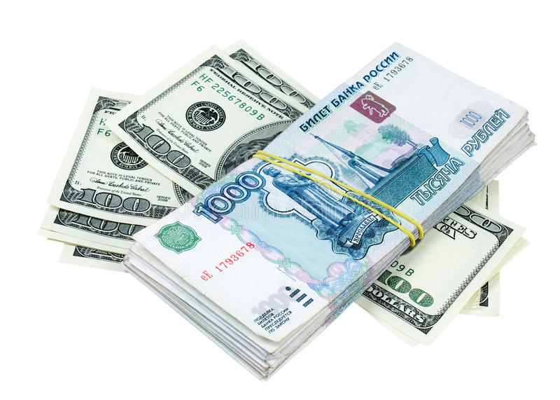 American dollars and Russian rubles stock photography