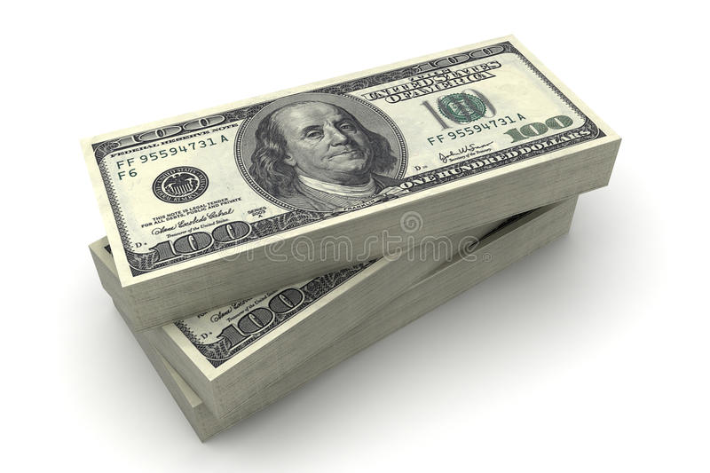 Download The American Dollars In A Stack On $100 Bills Stock Illustration - Image: 12251581