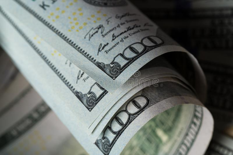 American dollars. A stack of hundred dollar bills. Close up royalty free stock image