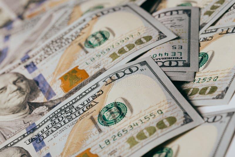 American dollars. A stack of hundred dollar bills. Close up stock photos