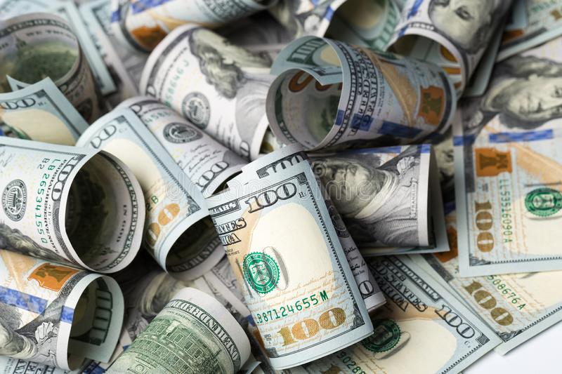 American dollars. A stack of hundred dollar bills. Close up stock images