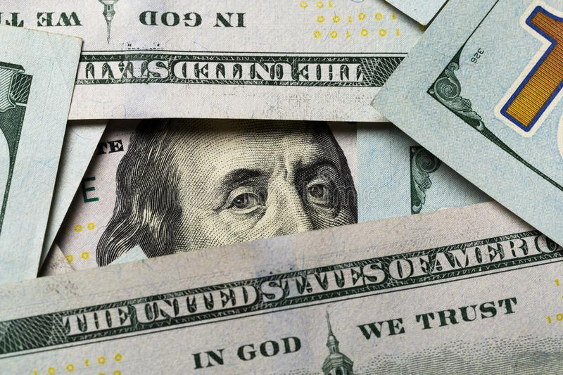 American dollars. A stack of hundred dollar bills. Close up stock photo