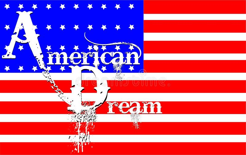 American dream concept. Over white with text royalty free illustration