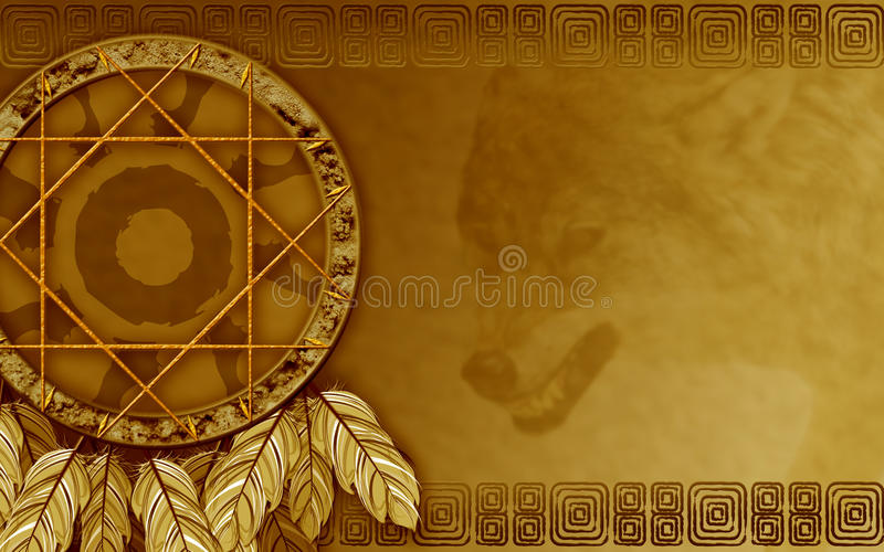 Download American Dreamcatcher With Wolf Stock Illustration - Image: 21235361