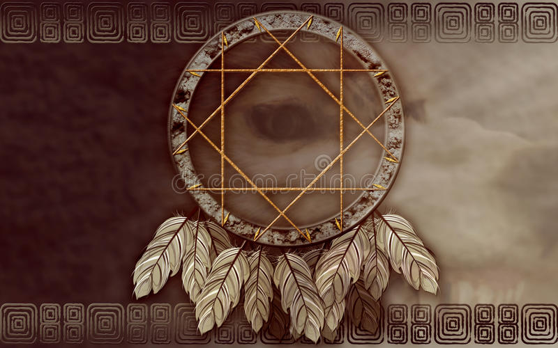 Download American Dreamcatcher With Wolf Eye Stock Illustration - Image: 21235378