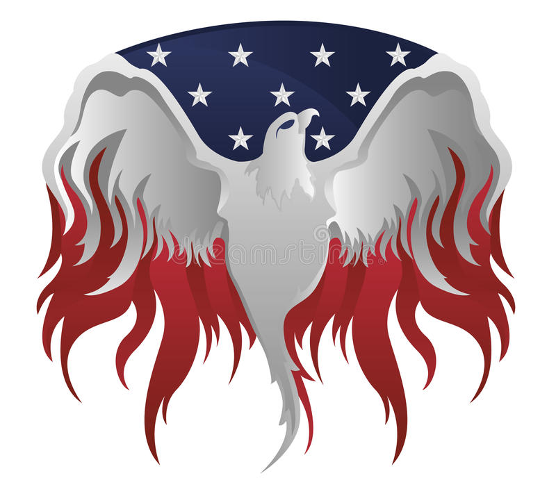 American Eagle. Steel American eagle with wings spreaded vector illustration