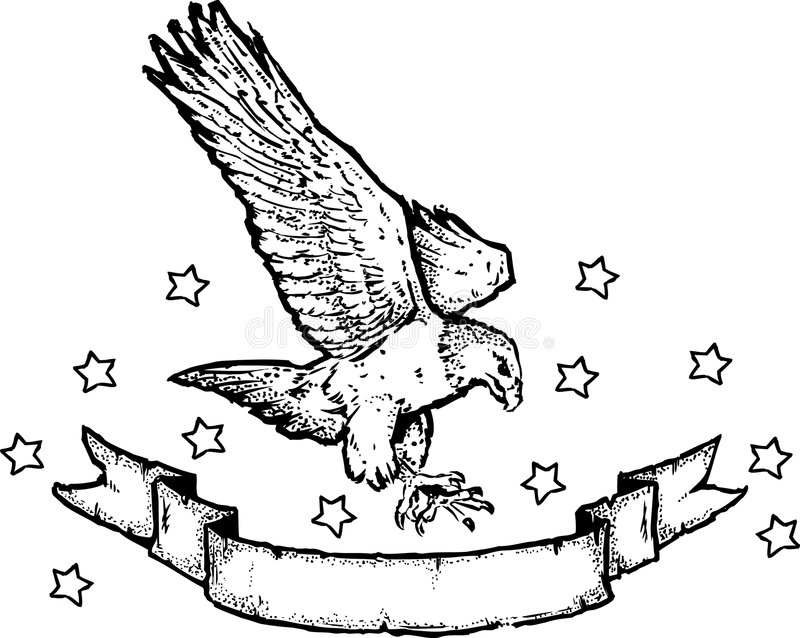 American Eagle & Banner stock photo