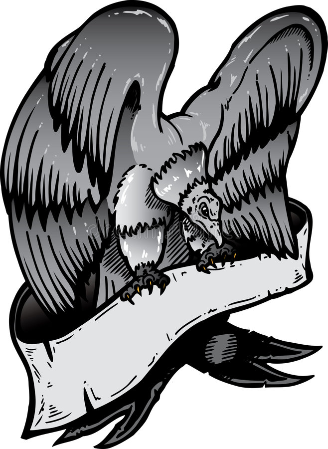 American eagle with banner vector illustration royalty free stock photo
