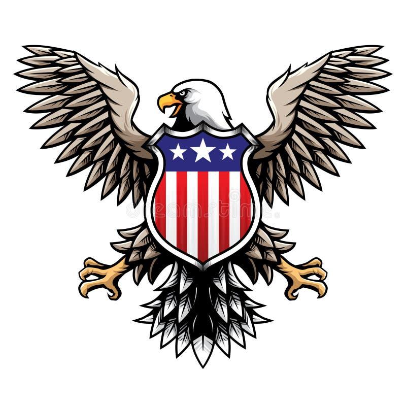 American Eagle con lo schermo di stelle e strisce/l'illustrazione vettore emblema/del distintivo illustrazione di stock