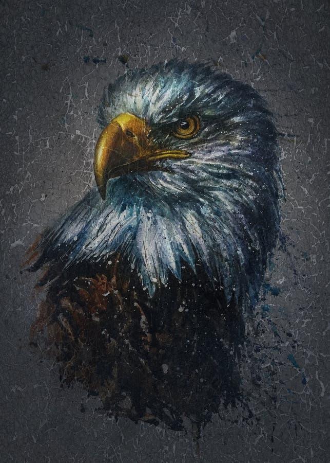 American Eagle med bakgrundsvattenfärgmålning, fåglar, djur djurliv, falk, hök royaltyfri illustrationer