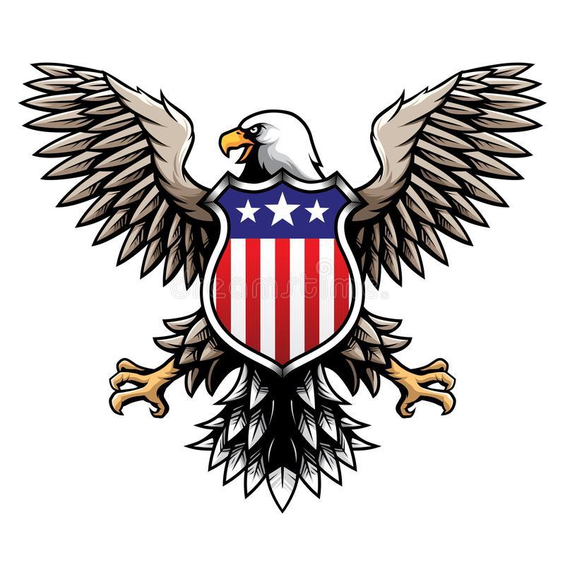 American Eagle mit Sternenbanner Schild/Ausweis-/Emblem-Vektor-Illustration stock abbildung