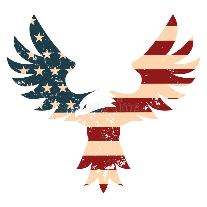 American Eagle with USA flag background. Design element in vector royalty free illustration
