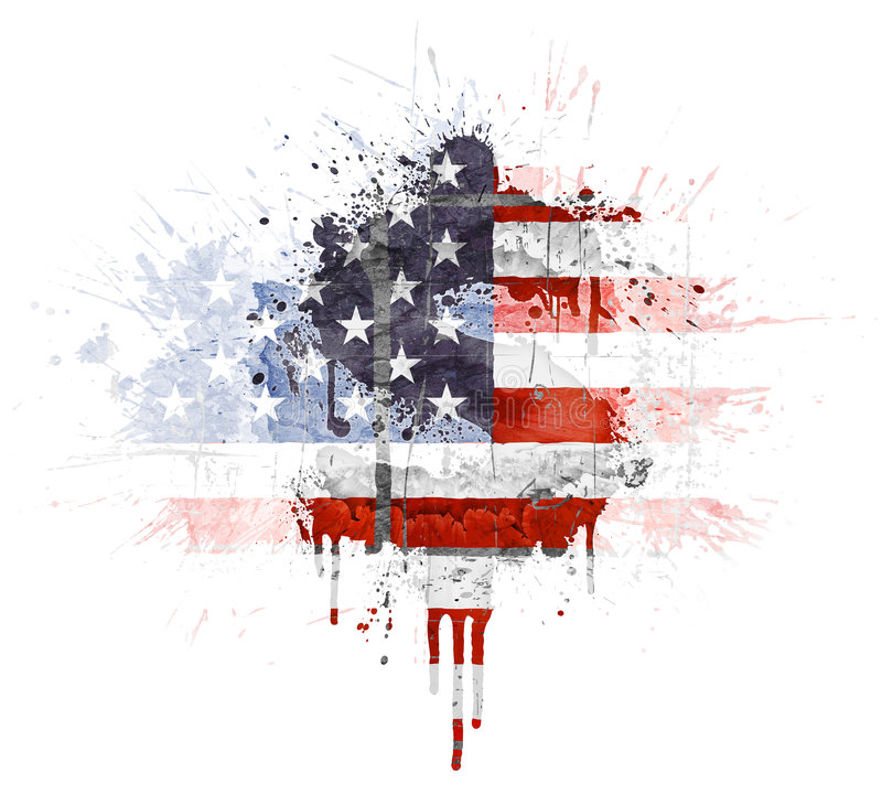American economic explosion. Modern grunge splatter design with American flag, Dollar symbol. Distressed grungy look with ink drop explosion