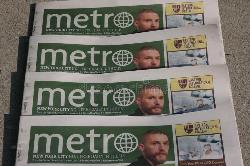 Metro Newspaper. The American edition of Metro Newspaper, a free daily published by Swedish company Metro International royalty free stock photo