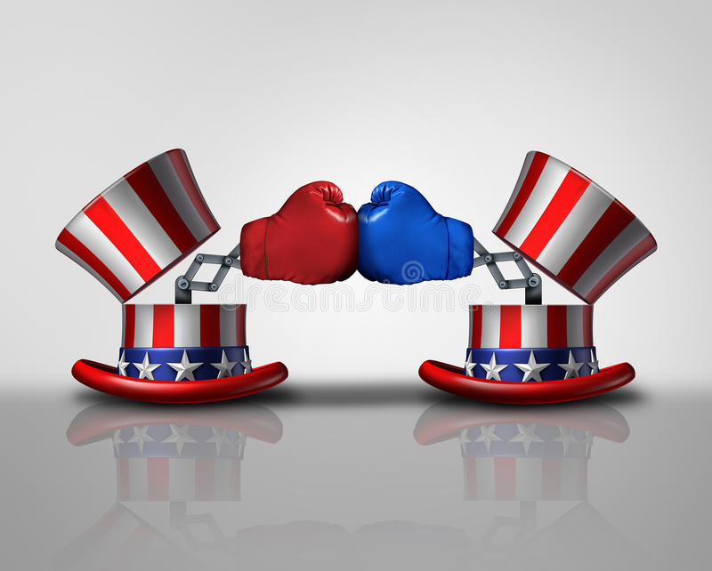 American election fight. And political violence concept for campaigning for votes as an open uncle Sam top hat decorated with the flag of the United States and stock illustration