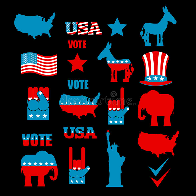 American Elections icon set. Republican elephant and Democratic royalty free illustration