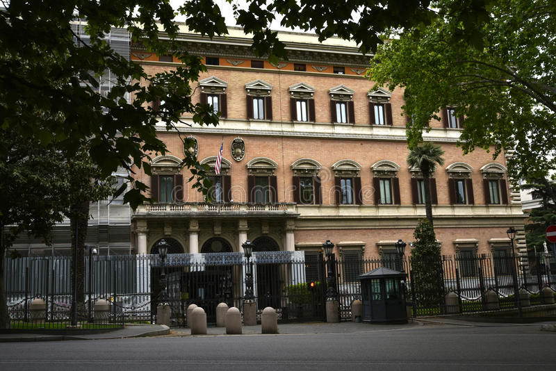 The American Embassy in Rome Italy. The Embassy of the United States of America in Rome is the diplomatic mission of United States of America to the Italian stock photos