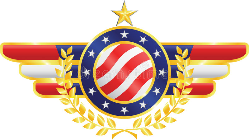 American emblem. American patriotic emblem made of gold, silver and silk with fragments of american flag, stars, olive branches vector illustration