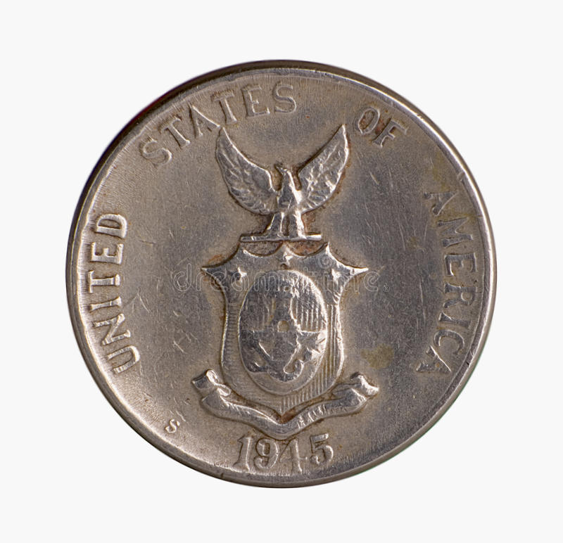 American Era Silver Coin. American occupation of the philippines commonwealth silver coin macro shot isolated on white royalty free stock photos