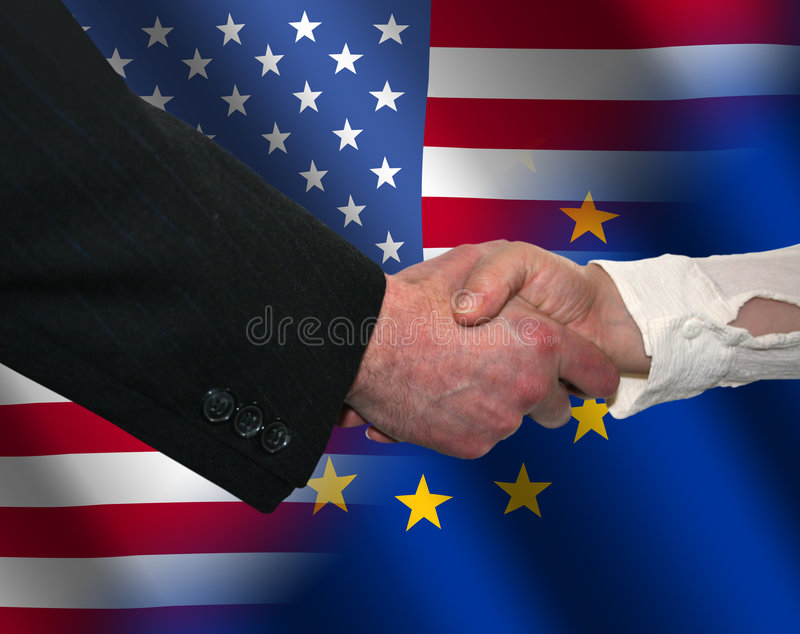 American and EU handshake vector illustration