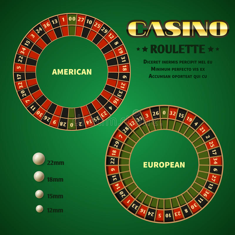 American and European casino roulette motion wheels vector illustration. American and European casino roulette motion wheels with white ball. Vector Illustration stock illustration