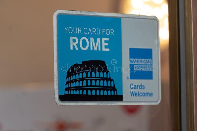 American Express seu cartão para Roma imagens de stock royalty free