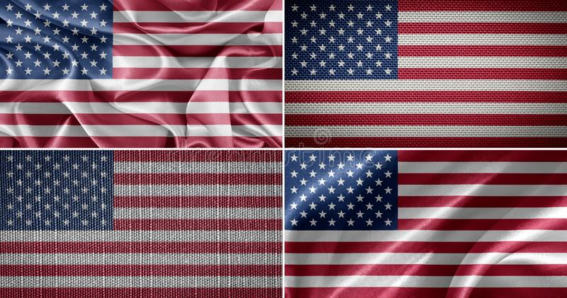 American fabric flags royalty free stock photos
