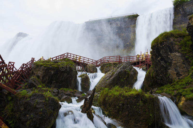 American Falls And Bridal Veil Falls From Below Stock Photo