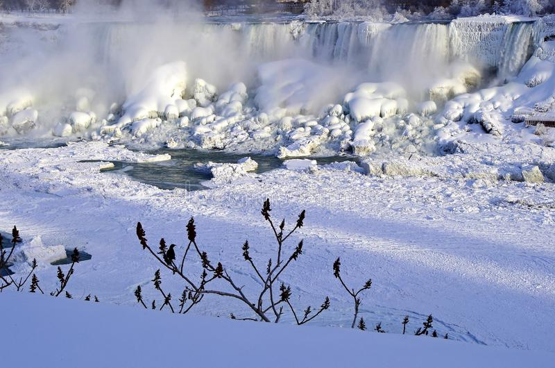American Falls and Bridal Veil Falls in ice. Niagara Falls in the winter. royalty free stock images