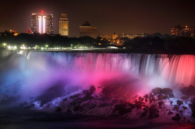 The American Falls At Night stock photography