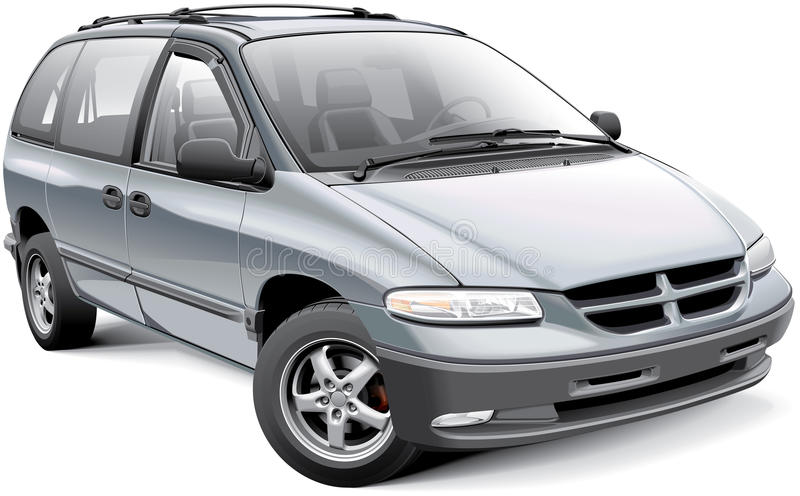 American family minivan. Detail vector image of American minivan, isolated on white background. File contains gradients and transparency. No blends and strokes royalty free illustration