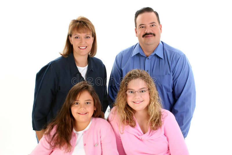American Family Portrait with Father Mother Daughters royalty free stock images