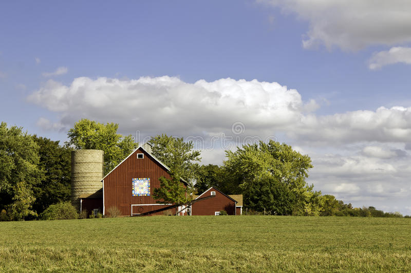 American farm with aged silo stock photography