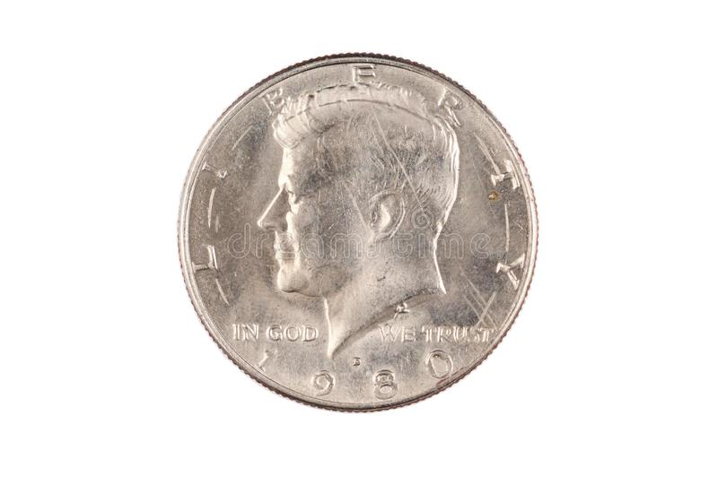 American Kennedy Fifty Cent Coin Isolated On White royalty free stock photography