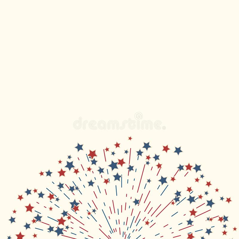 American fireworks patriotic background. American patriotic fireworks background. United States blank frame with space for text. Independence day holiday design royalty free illustration