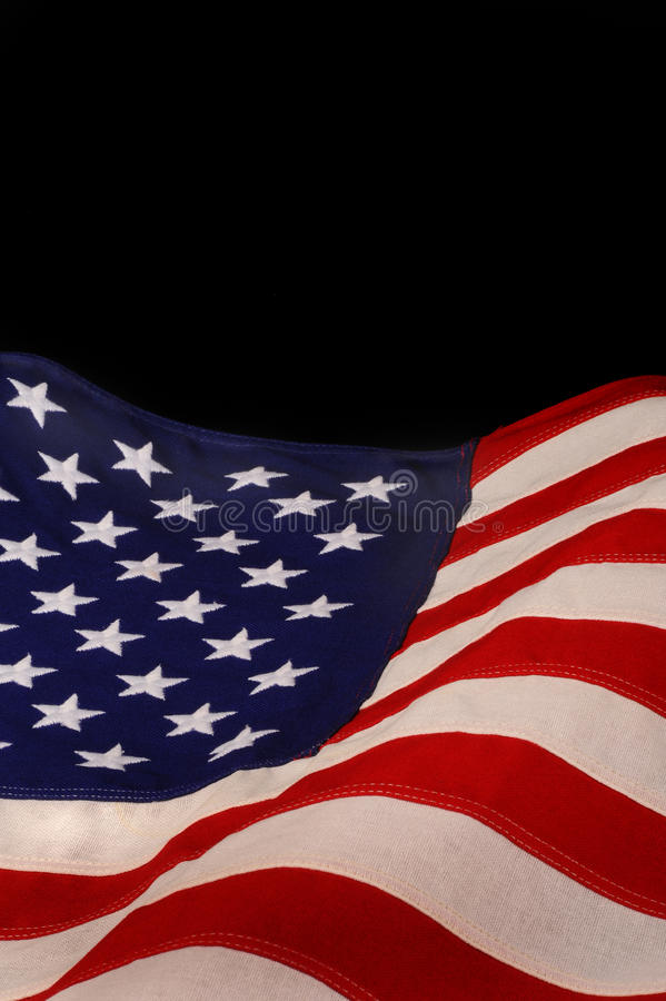 American flag. With blank black space for text stock photography