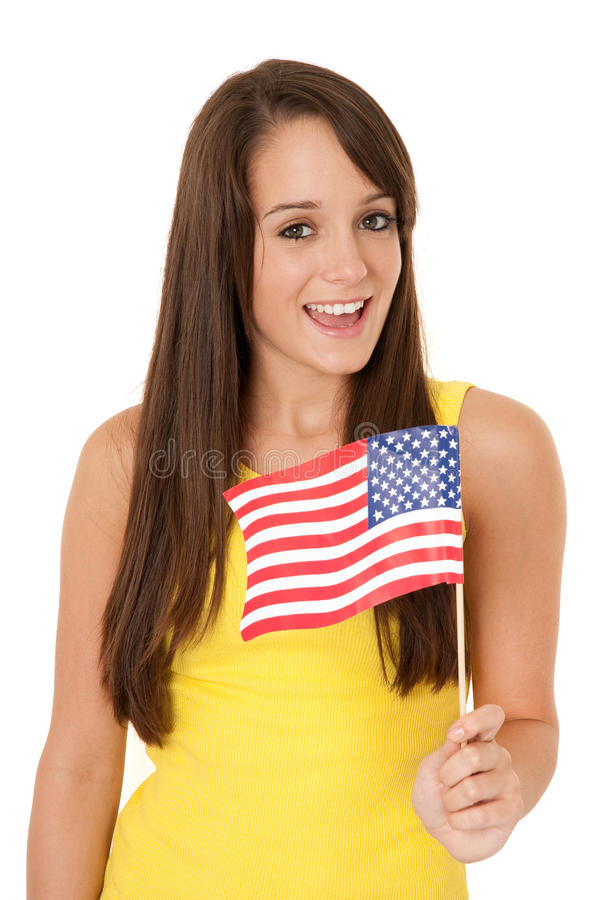 American flag. Woman holding American flag isolated on white royalty free stock images