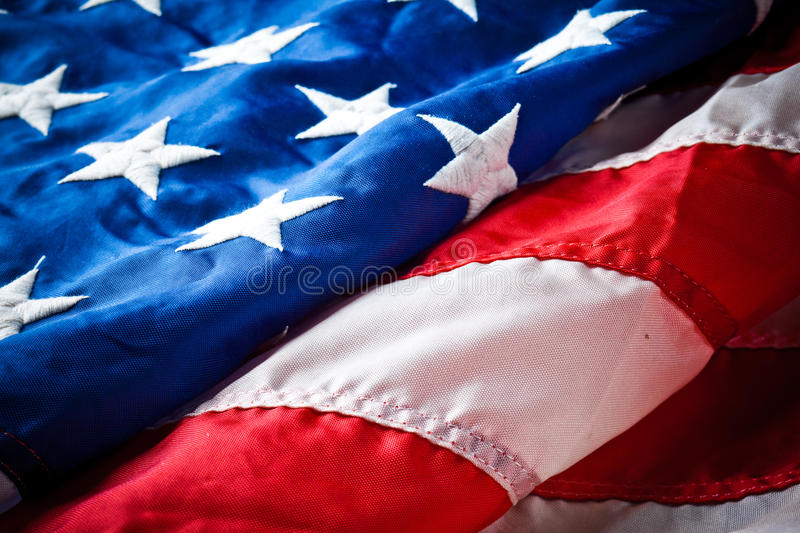 American flag. Details of a partially folded American or US flag royalty free stock photo