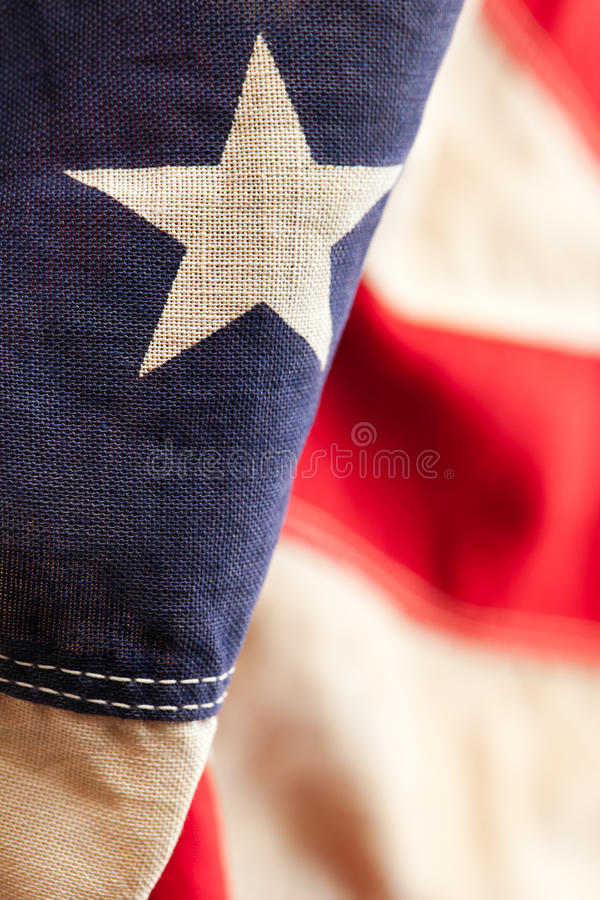 American flag. Closeup of a star on an American flag royalty free stock photo