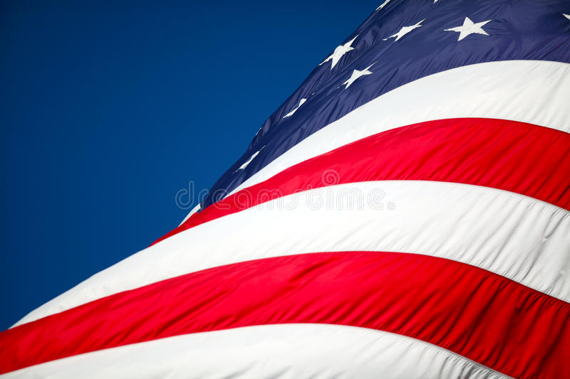 American Flag. An american flag with copy space stock photos