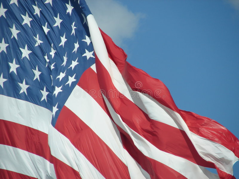 American Flag. Close up of large American flag in Fort Wayne, IN stock photo