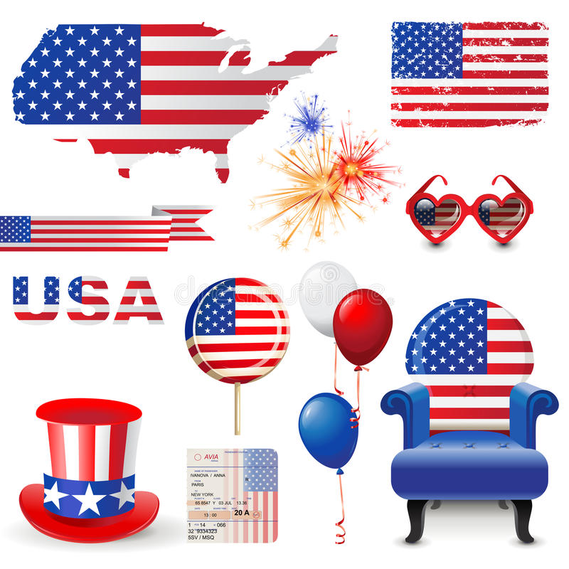American flag. Design elements in American flag colors stock illustration