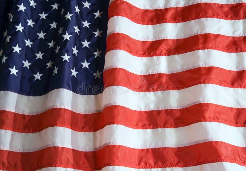 American Flag. Nylon American flag with lighting effect stock photos